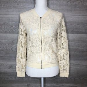 Forever 21 Lace Zipper Jacket Cream Size S…